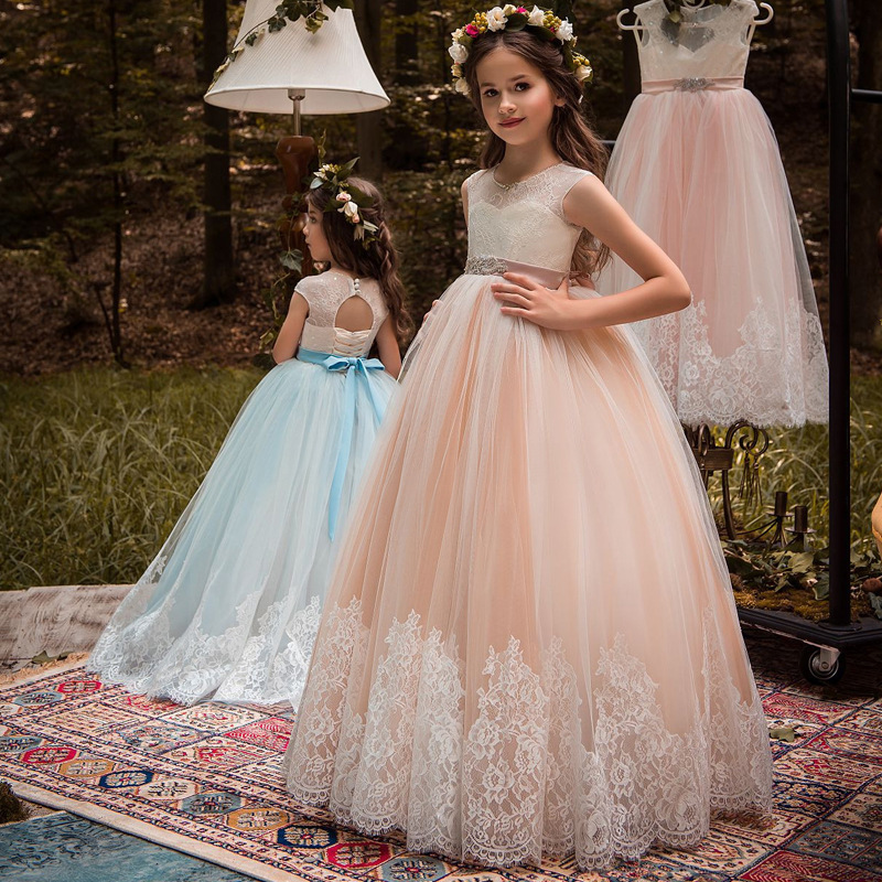 Newly A Line Lace Flower Girl Dresses Appliqued Kids Party Gowns With Belt 2019