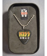 KISS CLASSIC LOGO GUITAR PICK NECKLACE WITH CASE DOG TAG ROCK AND ROLL - $9.85