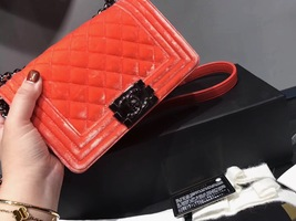 100% AUTHENTIC CHANEL CORAL VELVET QUILTED LAMBSKIN SMALL BOY FLAP BAG SHW image 4