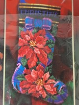 BUCILLA Longstitch Christmas Stocking Pointsettia RARE Kit 84650  NEW 2001 - $87.07