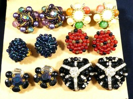 Lot of 6 W Germany Signed Beads Cluster Glass Pearl clip on earrings multi color - $59.40