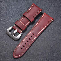 High Quality Vintage Crazy Horse Genuine Leather Watchband Red Blue Brown Watch  image 2