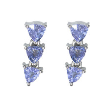 Trillion Shape Tanzanite Gemstone 925 Sterling Silver Women Wedding Stud... - $24.00