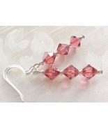 LIVING CORAL Earrings Salmon Pink Handmade in USA w Swarovski Crystal Co... - $12.88