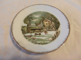 """The Farmer's Home -- Winter Currier & Ives Collector Plate 7"""" (H1) - $31.67"""