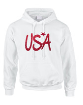 Adult Hoodie USA Red Glitter Love America 4th Of July Hoodie - $25.94+