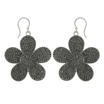Dasiy Flower Floral Round Black Spinel Gemstone 925 Sterling Silver Earring - $84.19
