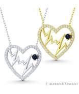Heart Beat Zigzag Lifeline Charm Pendant CZ Crystal 925 Sterling Silver ... - $28.79