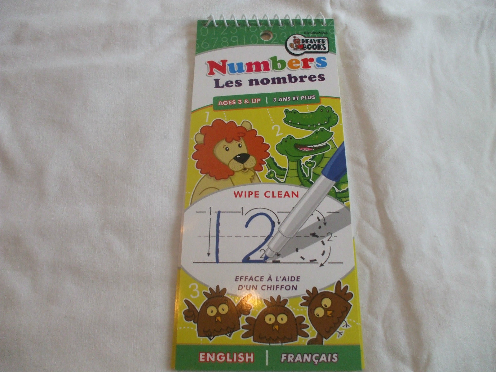 Numbers Wipe Clean Pad English & French Ages 3+  Beaver Books