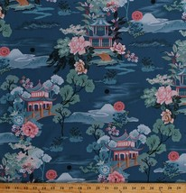 Cotton Asian Floral Flowers Roses Pagoda Dreams Travel Fabric Print BTY ... - $12.95