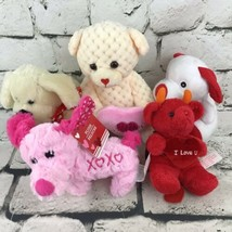 Valentines Plush Lot Of 5 Stuffed Dogs And Bears Love Hearts Anniversary Gifts - $9.89