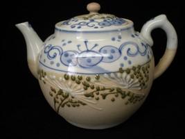 Vintage Ceramic Decorative 32oz Teapot Strainer Blue White Beige - holds... - $24.75