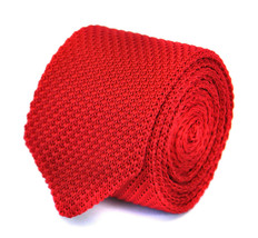 Frederick Thomas skinny plain red knitted tie with pointed end FT1857