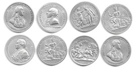 LOT OF 8 U.S. MINT PEWTER MEDALS - REVOLUTION WAR  (CNS 1832) - $29.69