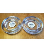 "2 Set Bubble Glass Pillar Candle Holder Indiana Glass 4.25"" USA - $10.84"