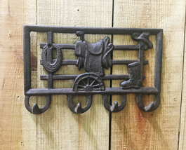 Cast Iron Saddle Four Coat Hook Wall Mounted Western Decor - $16.82