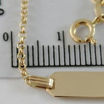 18K YELLOW GOLD KIDS BRACELET 5.90 ENGRAVING PLATE, MINI ROLO LINK MADE IN ITALY image 2