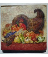 Lot of 60! Thanksgiving Paper Napkins Fall Harvest Autumn Pumpkin, fruit... - $6.88