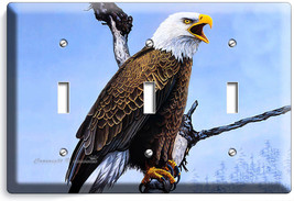 American Bald Eagle In The Wild Light Triple Switch Wall Plates Home Room Decor - $16.19