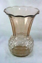 "Vintage Pink Glass Block Pattern 8 5/8"" Vase - $6.92"