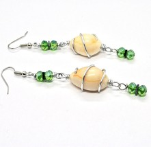EARRINGS THE ALUMINIUM LONG 3 1/8in WITH SEASHELLS HEMATITE AND CRYSTAL GREEN image 1
