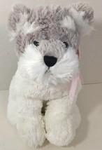 Best Made Puppy Schnauzer Dog gray white plush pink ribbon bow stuffed animal - $13.36