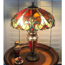 Tiffany Style Table Lamp Red Stained Glass Accent Reading Accent Lamp - $199.99