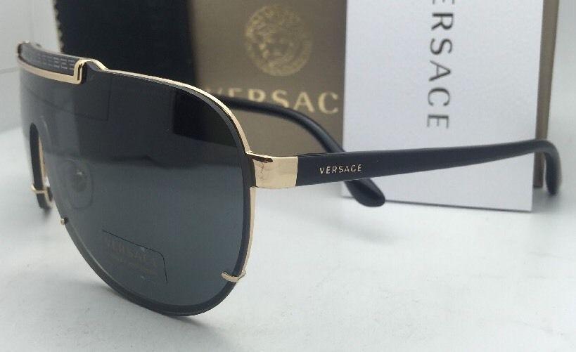 9b95aae9a96 New VERSACE Sunglasses VE 2140 1002 87 Gold   Black Shield Frame w  Grey  lenses