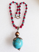 Silvertone & Red crystal Blue turquoise beads sphere ball drop Pendant N... - $31.19