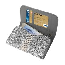 Diamond Bling Credit Card Silver Wallet fits LG Tribute Dynasty (Sprint) - $19.79