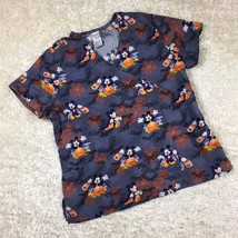 Disney Size XL Scrub Top Short Sleeve Mickey Mouse Pumpkins Bats Halloween - $14.01