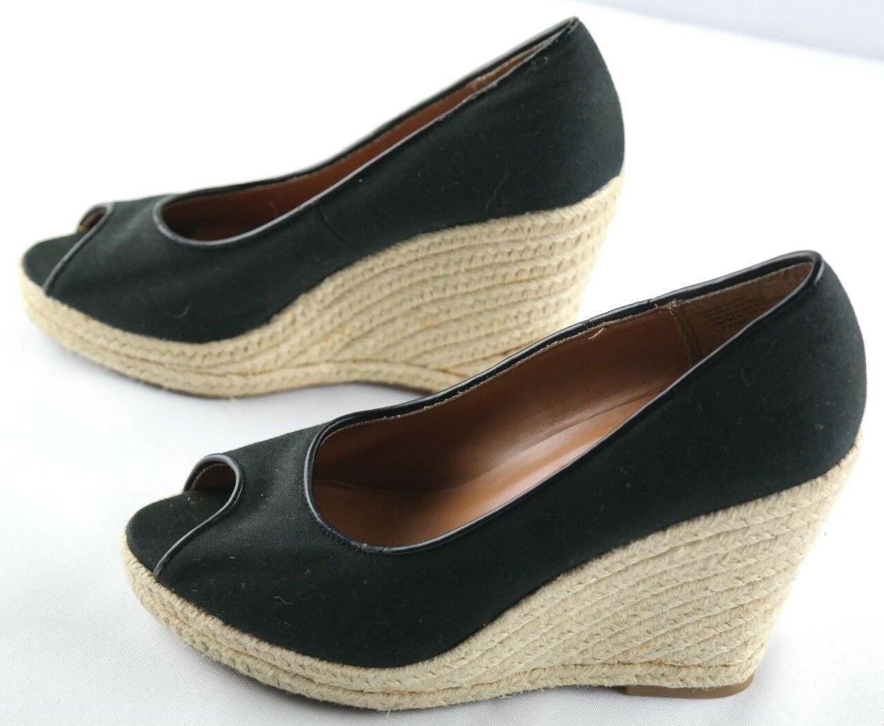 Steve Madden Peep Wedges Womens Size 6 Black Canvas Slip On High Heel Shoes image 4