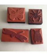 """Bugs BUTTERFLY and DRAGONFLY 4 pc Rubber Stamp Spring Theme 1"""" to 2""""  - $6.68"""