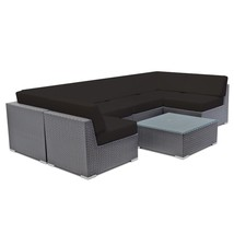 Wicker Patio Set Outdoor Sectional Couch Furniture W/Cushion Wicker Sofa... - $1,216.99