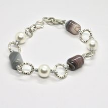 BRACELET THE ALUMINIUM LONG 21 CM WITH CHALCEDONY GRAY AND PEARLS image 3