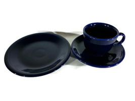 Fiesta Ware Cobalt Blue Cup Saucer Dessert Plate Homer Laughlin Dinner P... - $9.83