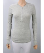 Lauren Ralph Lauren Petite Half-Zip Henley Shirt Platinum Heather Grey - $11.04