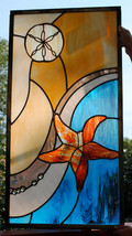 Leaded Stained Glass Window Panel Ocean Sand Dollar Starfish Emerging wa... - $197.00