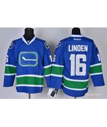 Canucks  16 trevor linden third alternate blue ice hockey jersey thumbtall