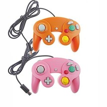 Lot Of 2 GameCube And Wii U Wired Controllers Orange And Pink - $17.99