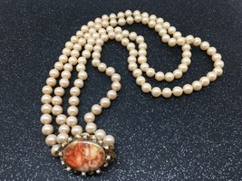 "Vintage faux pearl 2 STRAND Necklace 24"" inch Long - $23.24"