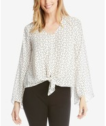 Karen Kane Star-Print Angled Sleeve Chiffon Tie-Front Blouse NWOT SMALL - $13.44