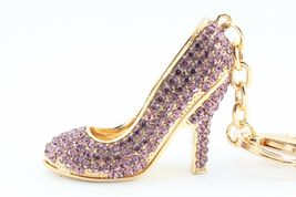 Purple Heels Shoes Stiletto Fashion Keychain Crystal Charm Gift #MCK11 - $18.17