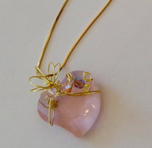 Beautiful pink heart glass pendant wire wrapped with dainty crystal acce... - $19.99