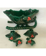 vintage ceramic pottery Christmas sled and candle holders green holly be... - $32.62