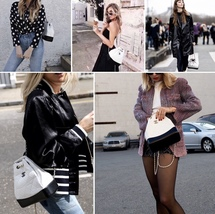 BNIB 2019 Chanel White Black Gabrielle Quilted Leather Bucket Bag RECEIPT  image 10