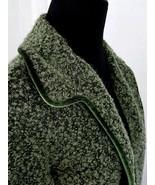 Barbara Lesser Dark Green Cardigan Sweater Medium Velvet Trim Long Sleeves - $46.12