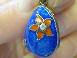 Estate Faberge Type Guilloche EnameL BLUE Egg RED FLOWER Gem ctr Charm Bracelet - $79.99