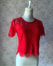 2021 Red Lace Crop Top Short Sleeve Plus Size Wedding Bridesmaid Red Crop Tops  image 8