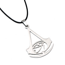 Sterling Silver Assassins Origins Logo Leather Necklace For Video Gamer ... - $42.00+